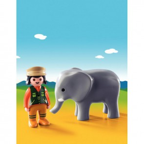 Éléphant + soigneur PLAYMOBIL 1-2-3