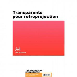 Boîte de 100 transparents pour rétroprojection copieur A4 100µ