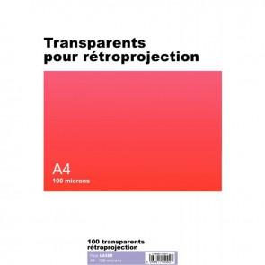Boîte de 100 transparents pour rétroprojection laser et copieur A4 100µ