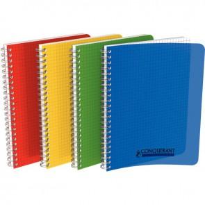 Cahier à reliure intégrale couverture polypropylène, 100 pages format 17x22 cm 5x5, coloris assortis