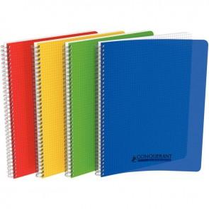 Cahier à reliure intégrale couverture polypropylène, 180 pages format A4 5x5, coloris assortis