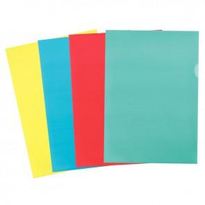 Boîte de 100 pochettes coin en polypropylène 12/100ème format A4 coloris assortis