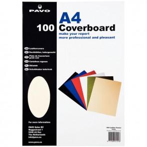 Paquet de 100 couvertures grain cuir, format 21x29,7 cm  ivoire