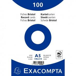Paquet de 100 fiches bristol non perforées carte forte 210 g blanc uni 14,8x21 cm