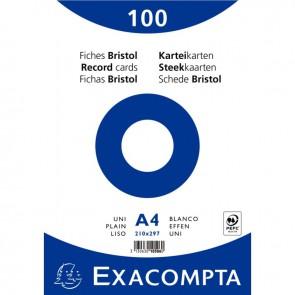 Paquet de 100 fiches bristol non perforées carte forte 210 g blanc uni 21x29,7 cm
