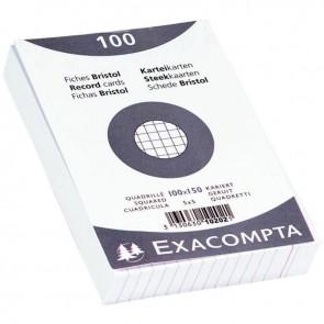 Paquet de 100 fiches bristol non perforées carte forte 210 g blanc quadrillé 5x5 10x15 cm