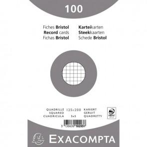 Paquet de 100 fiches bristol non perforées carte forte 210 g blanc quadrillé 5x5 12,5x20 cm