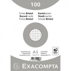 Paquet de 100 fiches bristol non perforées carte forte 210 g blanc quadrillé 5x5 14,8x21 cm