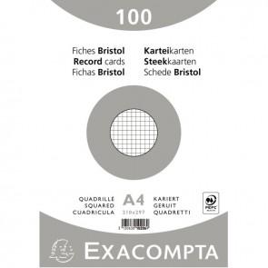 Paquet de 100 fiches bristol non perforées carte forte 210 g blanc quadrillé 5x5 21x29,7 cm