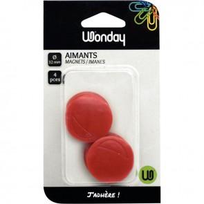 Blister de 4 punaises magnétiques, diamètre 32 mm rouge