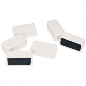 Blister de 6 punaises magnétiques rectangulaires. 12x25 mm.  Blanc