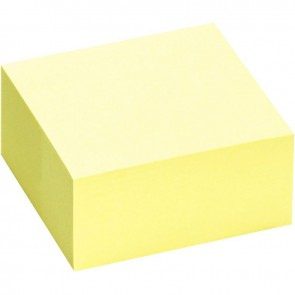 Bloc cube de 400 feuilles de notes repositionnables 75 x 75 mm jaune pastel
