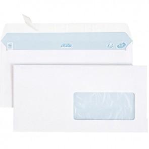 Boîte de 500 enveloppes blanches DL 110x220 80g/m² fenêtre 45x100 bande de protection