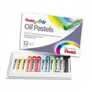 12 Pastels à l'huile de PENTEL en boite