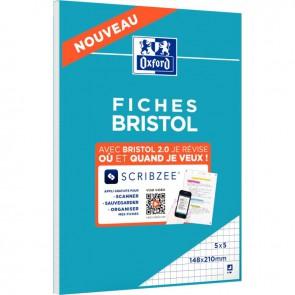 Bloc de 30 fiches bristol perforées 2 trous carte forte 210 g blanc quadrillé 5x5 format 14,8 x 21 cm