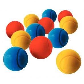 Lot de 12 balles de tennis en mousse diamètre 70 mm couleurs assorties