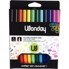 Pochette de 12 feutres de coloriage couleurs assorties pointe fine
