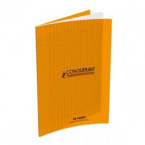 Cahier piqûre 17x22cm en 96 pages grands carreaux 90g. Couverture polypro orange Ref. Hamelin : 654134