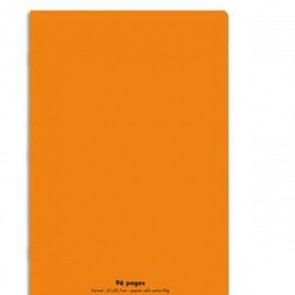 Cahier piqûre 21x29,7cm 96 pages grands carreaux 90g. Couverture polypro. orange Ref. Hamelin 654191