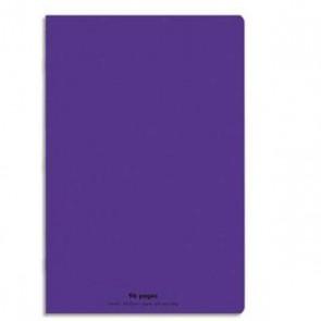 Cahier piqûre 24 x 32 96 pages grands carreaux. Couverture plastique violette