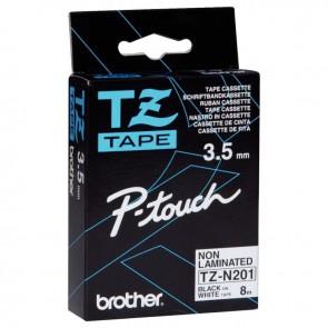 Ruban TZN pour Brother P-Touch noir sur blanc 3,5mm