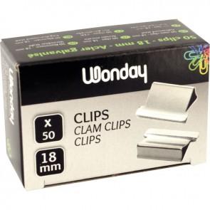 Boîte de 50 clips en acier nickelé 18mm/4mm