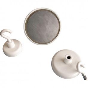 Blister 3 crochets de suspension magnétique diamètre 25mm blanc