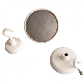 Blister 2 crochets de suspension magnétique diamètre 36mm blanc