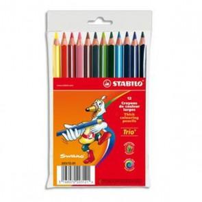 Pochette 12 crayons de couleur TRIO. Corps triangulaire. Coloris assortis de STABILO.