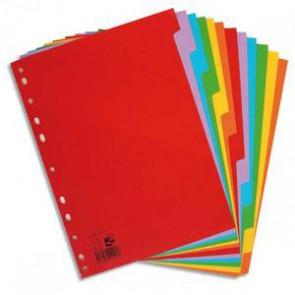 Intercalaires carton A4+ 12 touches. Jeu d'intercalaires 12 positions en carte colorée 160g.