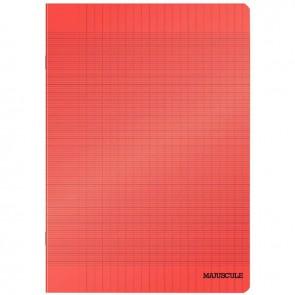 Piqûre 48 pages couverture polypropylène format 17x22 cm seyès coloris rouge
