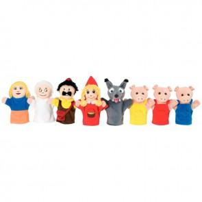 Valisette de 8 marionnettes le Petit chaperon rouge et les 3 petits cochons + 1 CD audio
