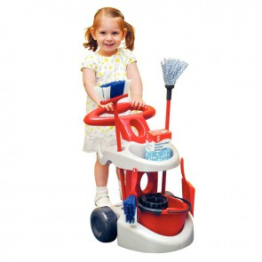 Chariot de ménage avec de nombreux accessoires