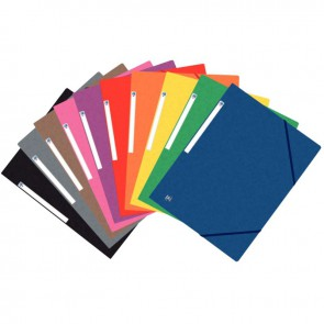Paquet de 10 chemises 3 rabats à élastiques TOP FILE+ en carte lustrée 4/10e 390g, coloris assortis