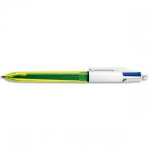BIC Stylo bille 4 couleurs Neon. 3 Couleurs 1 mm : bleu, noir, rouge. 1 couleur 1,6 mm: jaune fluo. (