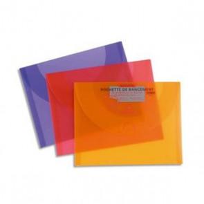 Pochette en plastique de rangement feuilles de dessin ; remplace les cartons à dessin, pour ranger ses dessins, en  plastique de couleur translucide