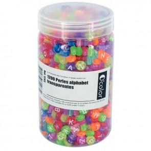 Bocal de 1 200 perles lettre de l'alphabet transparentes assortis