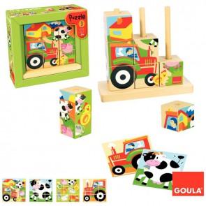 Puzzle abaque de 9 cubes en bois. La ferme