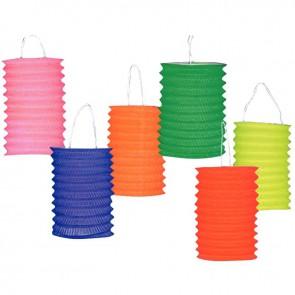 Lot de 30 lampions cylindriques hauteur 13 cm coloris assortis