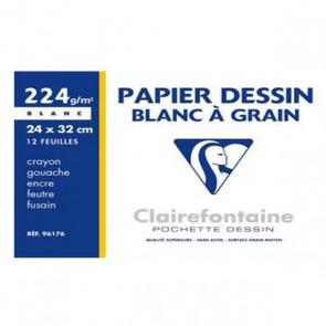 Pochette de 12 feuilles papier dessin blanc 24x32 en 224g  Ref CLAIREFONTAINE 96176C