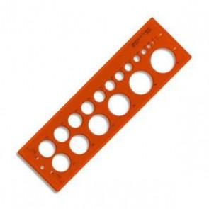 Trace cercles n°18 impairs et pairs ( signes d' usinage) Diam 1 à 30 mm en plastique orangé de Minerva