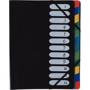 Trieur en polypropylène avec élastiques 12 compartiments couverture coloris noir