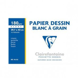 Papier dessin blanc à grain 180g pochette de feuilles A3 soit 29,7x42 cm pour gouache,crayon etc. Ref CLAIREFONTAINE : 96185C