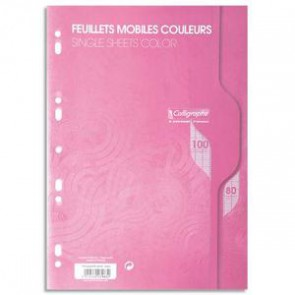 Copies de couleur ROSE en A4 perforées,100 pages grands carreaux pap