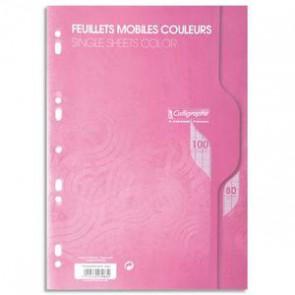 Copies de couleur ROSE en A4 perforées,100 pages grands carreaux pap