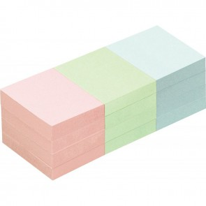 Lot de 12 blocs de notes repositionnables de 100 feuilles 40 x 50 mm couleurs pastels assorties