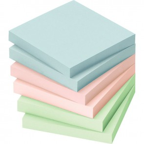 Lot de 12 blocs de notes repositionnables de 100 feuilles 75 x 75 mm couleurs pastels assorties