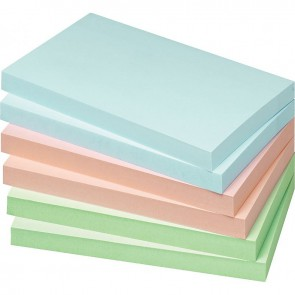 Paquet de 12 blocs de notes repositionnables de 100 feuilles 75 x 125 mm couleurs pastels assorties