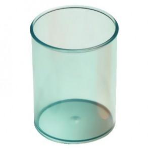 Pot à crayons rond diamètre 7cm Bleu transparent
