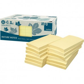 Paquet de 12 blocs de notes repositionnables de 100 feuilles recyclées 75 x 125 mm jaune